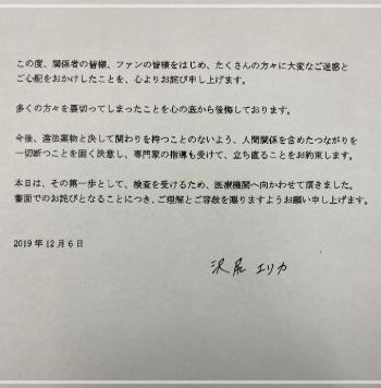 沢尻エリカ 反省文